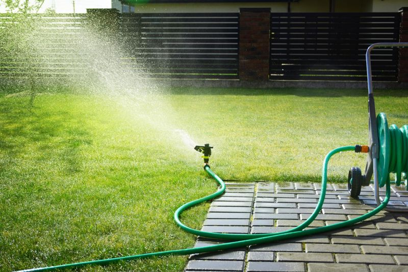 Automatic sprinkler watering thick green grass in healthy Guelph lawn